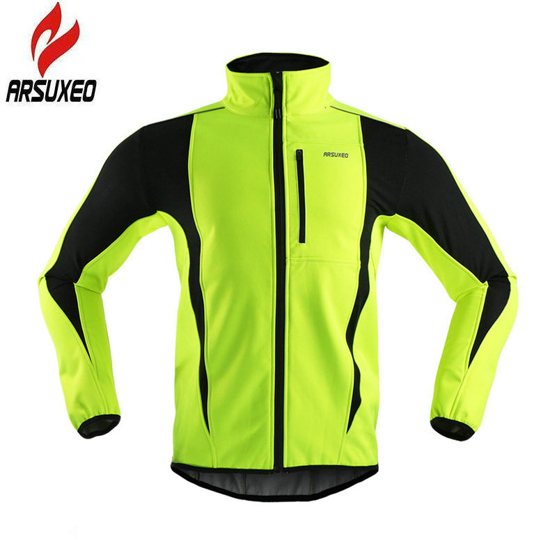 цена ARSUXEO 2017 Thermal Cycling Jacket Winter Warm Up Fleece Bicycle Clothing Windproof Waterproof Sports Coat MTB Bike Jersey 15-K онлайн в 2017 году
