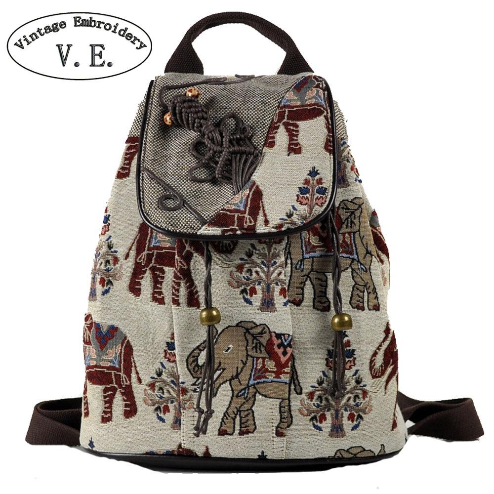 Vintage Embroidery Women Backpack Elephant Embroidered Backpack Canvas Shoulder Bag Travel Rucksack Schoolbag Woman Mochila