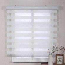 Индивидуальные Размер полузатемнение ручной или Моторизованный рулонные шторы с зебровым принтом для домашнего декора