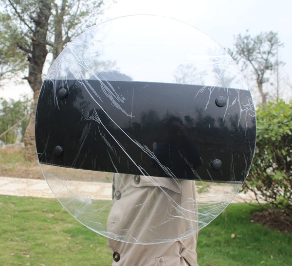 Protective portable handheld Round transparent Shield army PC Shield 500*500 MM circle Explosion proof riot Shield multifunctional arm shield defense shield aluminum shield riot shield