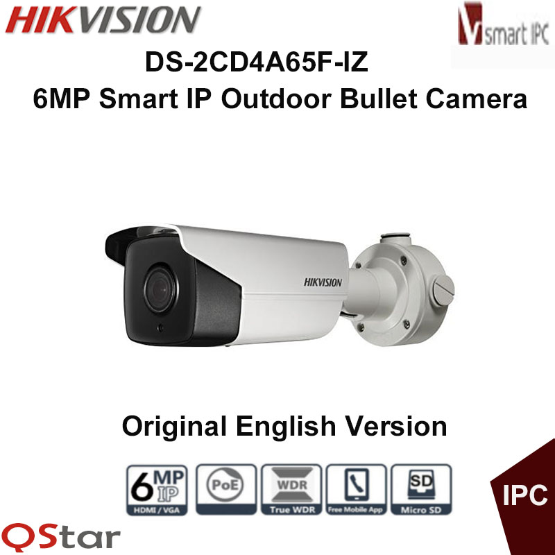 Hikvision Original English Version DS-2CD4A65F-IZ 6MP Smart IP Outdoor Bullet Camera Support 64G storage POE CCTV Camera free shipping english version ds 2cd4a65f iz 6mp smart ip outdoor bullet network camera support 64g on board storage