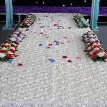 1,5 м* 10 м Свадебная вечеринка атласная ткань 3D Роза цветок проходу бегун красочный ковер занавес Свадебная вечеринка декорации