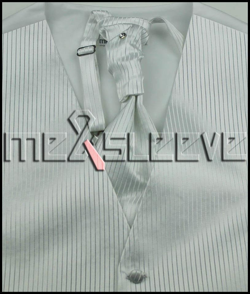 New Men s strip white Tuxedo Waistcoat ascot tie for party