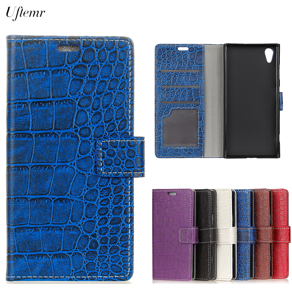 Uftemr Vintage Crocodile PU Leather Cover For Wiko Sunny 2 Protective Silicone Case Wallet Card Slot Phone Acessorie