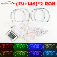 Flytop 2x131 미리메터 + 2x146 미리메터 RGB LED 천사 눈 헤드 라이트 RF 컨트롤러 헤일로 링 원격 제어 BMW E46
