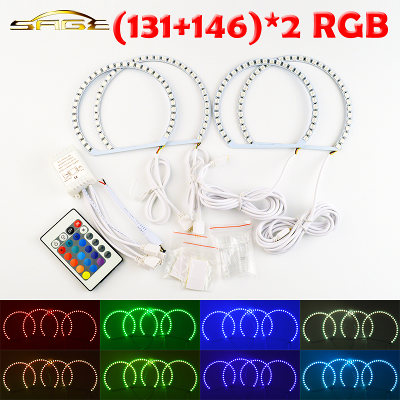 flytop 2x131mm+2x146mm RGB LED Angel Eyes Headlight RF Controller with Halo Ring Remote Control for BMW E46 for bmw e46 3 series non projector rgb led angel eyes ring 5050smd 2x131mm 2x 145mm color changing headlight angel eyes