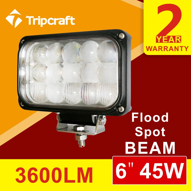 ФОТО Freeshipping!! 2PCS 6 inch 45W LED Work Light Lamp for Motorcycle Tractor Boat Off Road 4WD 4x4 Truck SUV ATV Spot Flood 10v 30v