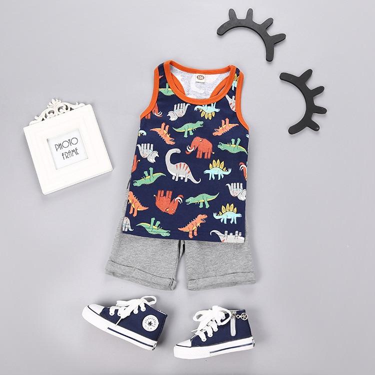 Biniduckling детская одежда для маленьких мальчиков комплект летней одежды майка топ и шорты детские Для мальчиков ясельного возраста Костюмы Комплект Детская одежда для Обувь для мальчиков