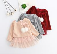 Wholesale Autumn Princess Mesh Clothes Full Sleeve Children Girls Baby Bow Polka Dot Dresses Patchwork Knitted