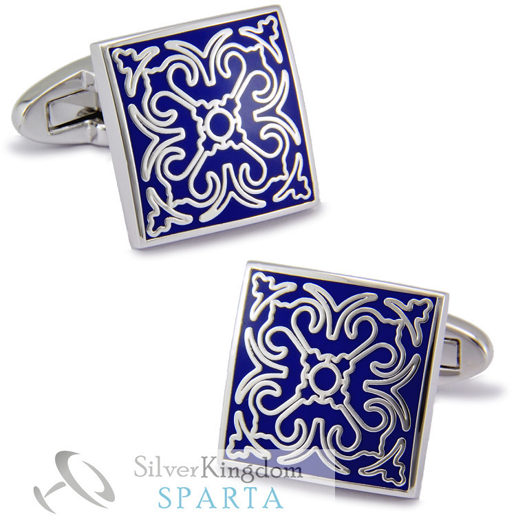 Dark Blue square White Gold Electroplated + High quality metal + Enamel cufflinks men's Cuff Links