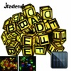 Jiaderui LED Novelty Alphabet Solar String Lights 7 5m 30 LEDs Fairy Curtain Bedroom Outdoor Waterproof
