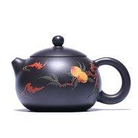 200ML xi shi Yixing czajniczek ręcznie zisha dzbanek na herbatę z rudy fioletowy gliny czajnik z pudełko garnitur krawat guan yin czarna herbata