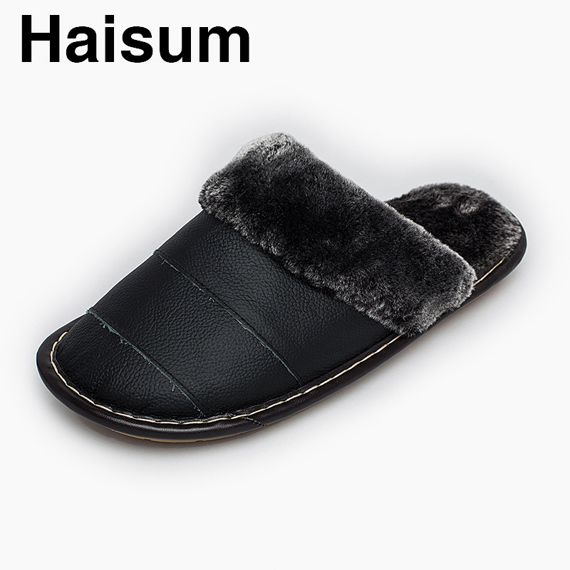 Men 's Slippers Winter genuine Leather Home Indoor Non - Slip Thermal Slippers 2018 New Hot Haisum H-8816 men s slippers winter pu leather home indoor non slip thermal slippers 2018 new hot haisum h 8007