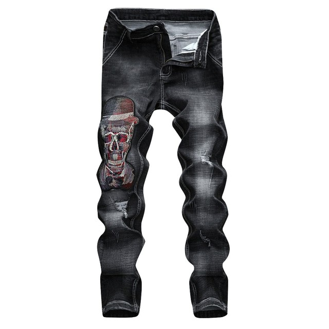 Nostalgic style hole men's jeans embroidery skull high quality cotton European and American jeans