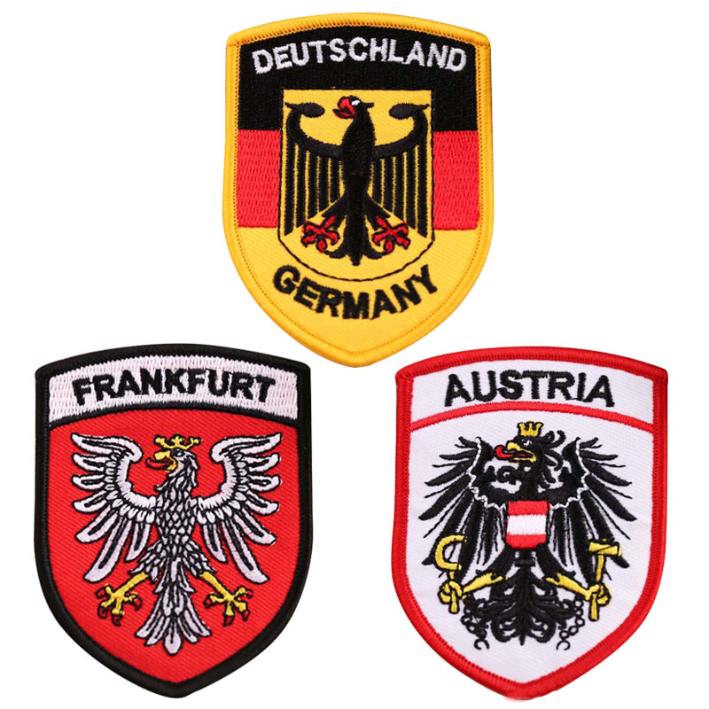 <font><b>Deutschland</b></font> Austria Frankfurt Badges Iron On Embroidered Patches for Clothing Letter Eagle flags Stickers Appliques wholesale image