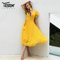 Yesexy 2019 Summer Dot Yellow Women Dress Deep V Neck Casual Sashes Mid Sundress Elegant Ladies Long Dress VR1065