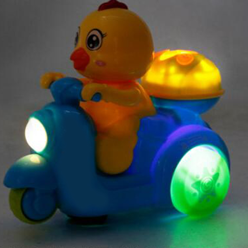 1Pc Electric Chicken Riding Motorcycle Car Light Music