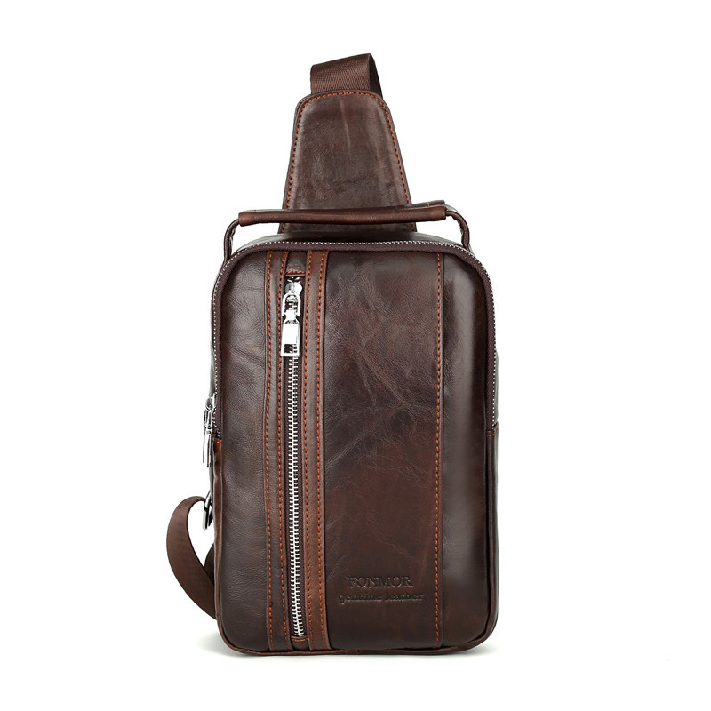 High Quality Men Genuine Leather Cowhide Vintage Sling Chest Back Day Pack Travel fashion Cross Body Messenger Shoulder Bag цена