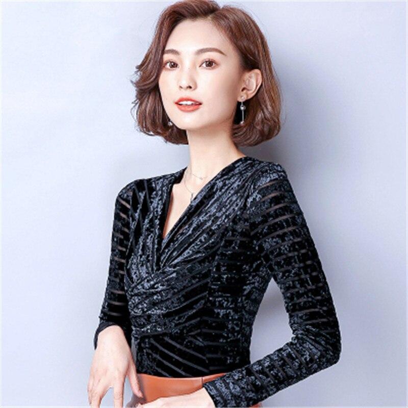 d42a1a4badb 2018 Fashion Women s Blouse Winter Spring Women Velvet Tops Warm Velour  Long Sleeve V neck shirt Plus Size M 3XL Elegant Blusas-in Blouses   Shirts  from ...