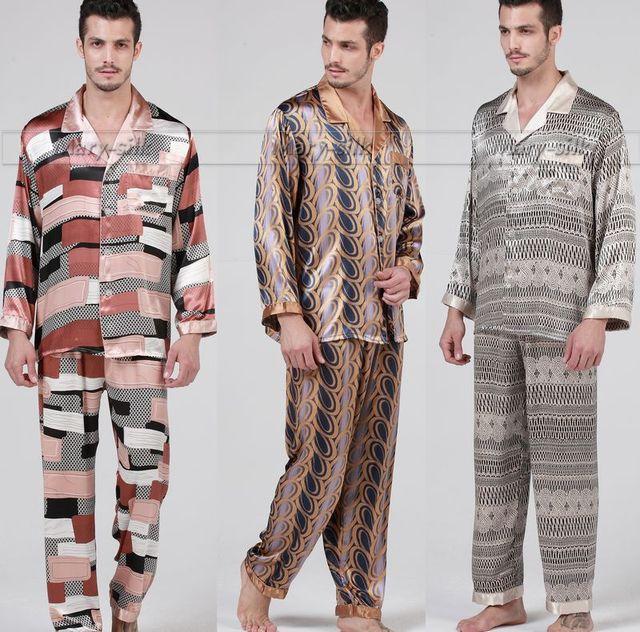 Gifts Mens Silk satin Pajamas Set Pajama Pyjamas PJS Sleepwear Loungewear S M L XL Long Sleeves