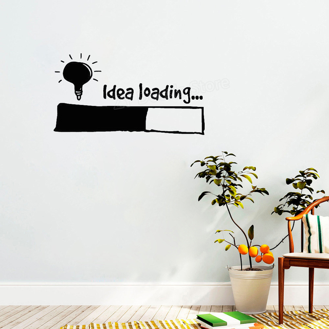 Idea Loading Wall Stickers Light Bulb Lamp Window DIY Sticker Decal Office Wall Decor Creative Kids Bedroom Decals Ornament D005