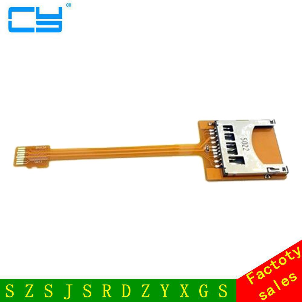 Free Shipping tracking number Micro SD TF Memory Card Kit Male to SD Female Extension Soft Flat FPC <font><b>Cable</b></font> Extender <font><b>10cm</b></font> image