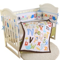 Baby Cot Bedding Set Soft Breathable Cotton Bed For Children Including Quilt Sheet Skirt Bumper