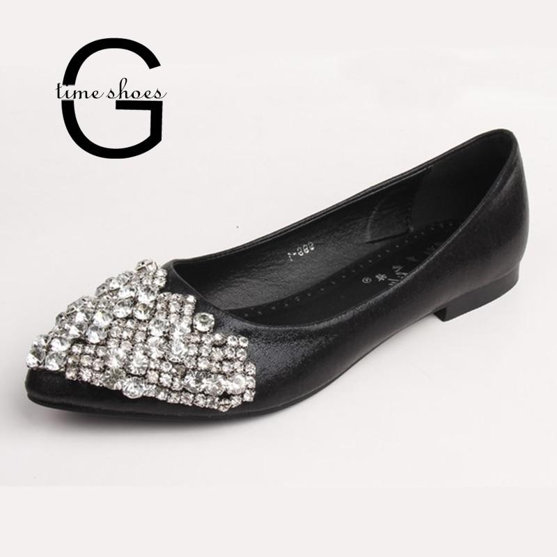 Gtime Flats Mujer Slip On Ballet Princess Crystal Shoes Ladies Casual en punta Zapatos Shaallow Rhinestone Flats Big Size 43 ZWS140