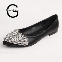 Gtime appartements femmes sans lacet Ballet princesse cristal chaussures dames décontracté pointu Shaallow chaussures strass appartements grande taille 43 ZWS140