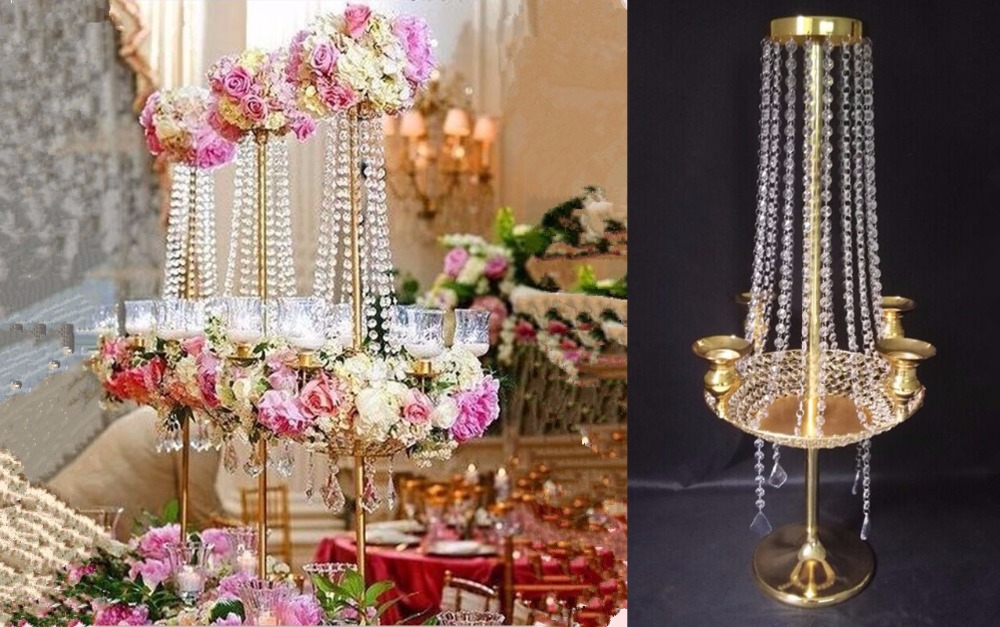 Aliexpress 90cm H Wedding Crystal Table Centerpiece Chandelier Flower Stand Banquet Decoration Road Lead From Reliable Chain Suppliers