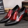 Christia Bella Moda Rojo Cuero Genuino de Los Hombres de Alta Calidad Zapatos de Vestir Punta estrecha de Negocios Hombres Oxfords Zapatos Planos de Los Hombres de La Boda