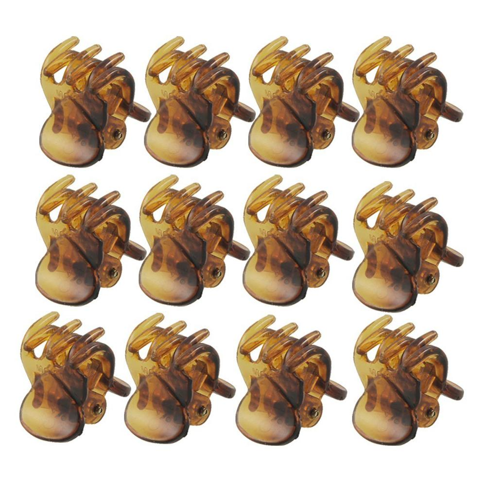 12 Pcs Lovely Brown Plastic Mini Hairpin 6 Claws Hair Clip Clamp for Ladies