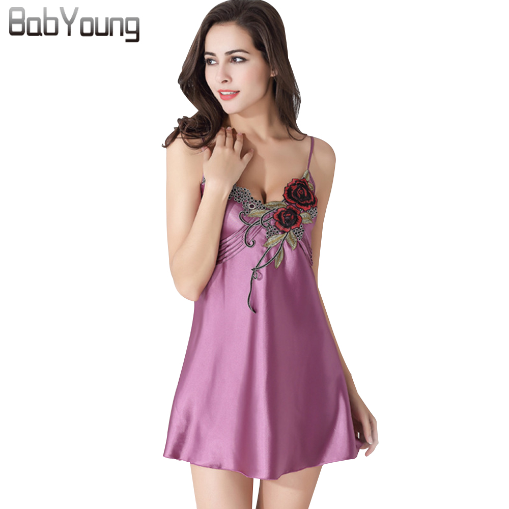 BabYoung 2018 Summer Women Sexy Lingerie Silk Camisole Night Dress Sleepwear Noble Home Clothing Sexy Nightgown Nightwear