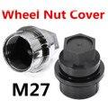 Car Universal 27mm Plastic Wheel Lug Nut Cover Cap 15646250 Black Chrome Plastic