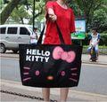 Super paquete!!! de dibujos animados nuevo anuncio de gran capacidad de bolsa de lona plegable portátil Hello Kitty cremallera bandolera