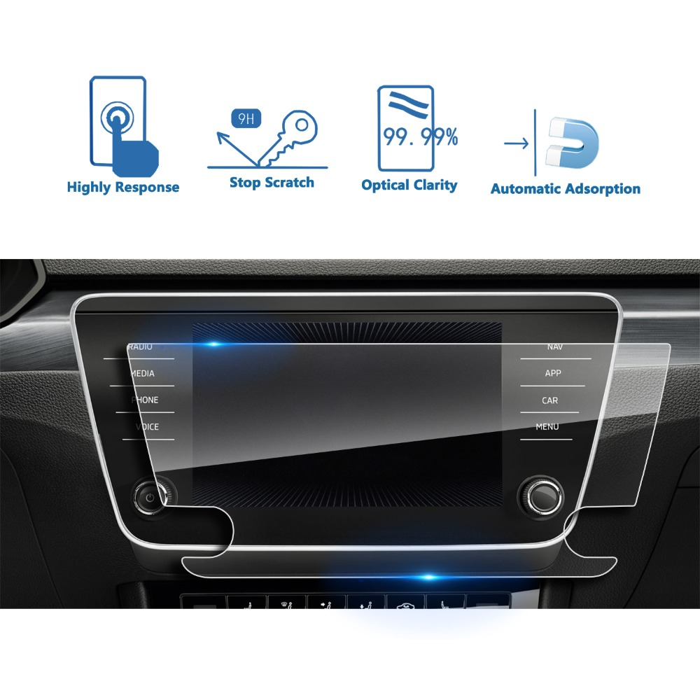 US $17 45 |RUIYA 9H tempered glass screen protector for Skoda  Infotainmentsystem superb Amundsen 8inch navigation screen,special for  car-in Screen