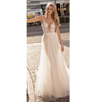 LORIE Boho Wedding Dresses Appliqued with Lace V Neck Beach Wedding Gown Spaghetti Strap Backless Free Shipping Bridal Gown 2018