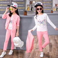 Children's Wear Girls' Suits 2017 New Cotton Three Sets Children's Spring and Autumn Sportswear Girls' Clothes
