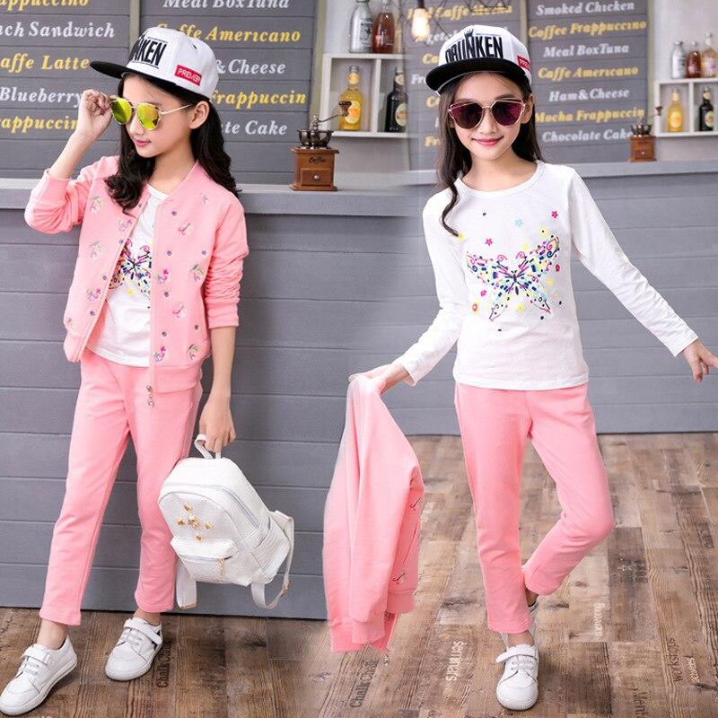 Vêtements pour enfants costumes pour filles 2017 nouveau coton trois ensembles vêtements pour enfants printemps et sportswear d'automne vêtements pour filles
