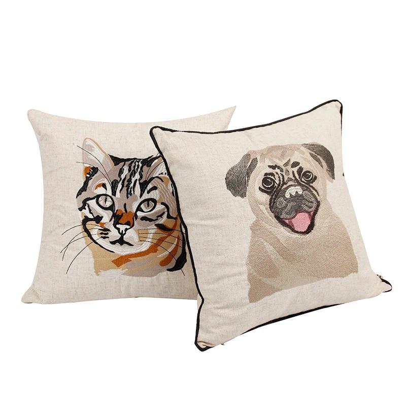 Embroidered Throw Cushion Cover Sofa Cotton Linen Pillowcase Pug Dog Cat Throw Pillows Children Animal Cushion Case Bulldog New Cat Throw Pillow Cushion Casecushion Cover Aliexpress