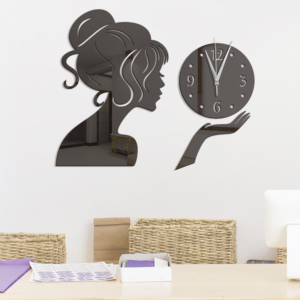 Wall Clock Girl Mirror Sticker Acrylic Waterproof Decal Home Living Room Decor hot sale clock