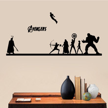 Kids Room Decoration Avengers Super Hero Cartoon Wall Stickers Poster Mural For Living character Decals LY1347