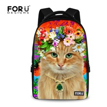FORUDESIGNS Kawaii Cat Printing Backpack for Teenage Girls Big Size Women Laptop Backpack Large Capacity Flower