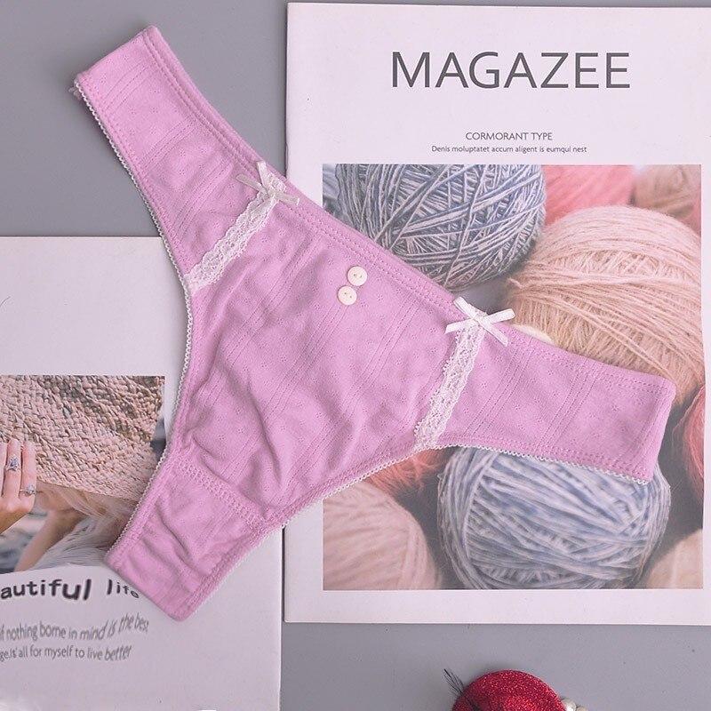 Cotton Women's Panties Thongs Underwear Women Lace Soft Briefs Sexy Lingerie Low Waist Lingerie G-string 1pcs/Lot Ac134