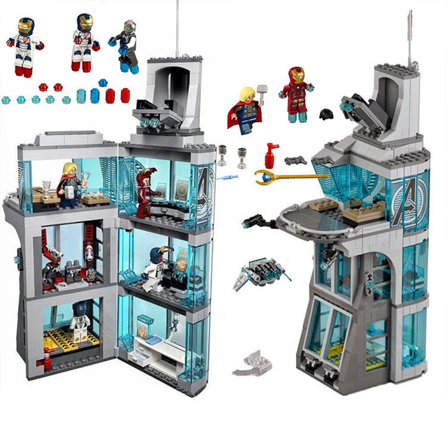 Maravilha 511 Pcs Star Wars Super-heróis Vingadores Homem De Ferro Ataque Surpresa Torre Modelo de Blocos de Construção compatíveis inglys starwars