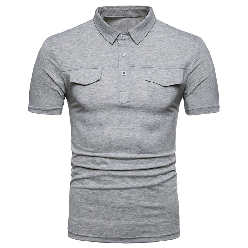 Brand   Polo   Shirt Men 2018 Summer Short Sleeve Double Fake Pocket Cover   Polo   Homme Casual Slim Fit Solid Color Mens   Polo   Camiseta