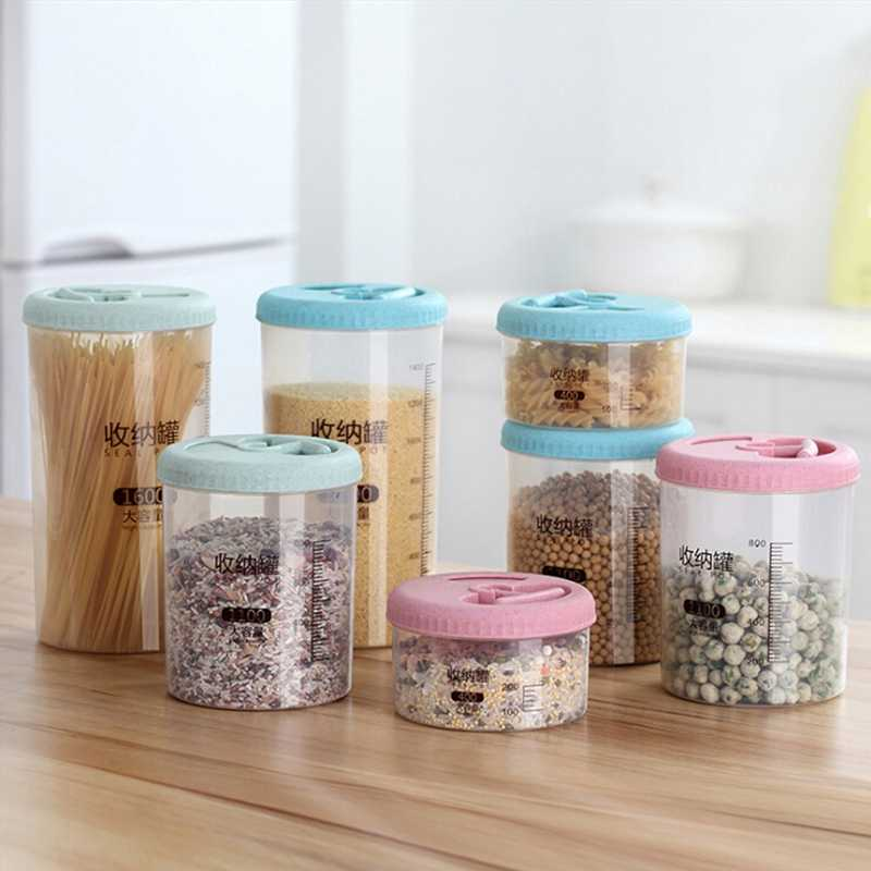 Plastic Sealed Transparent Cans Kitchen Storage Box Food Canister Keep Fresh