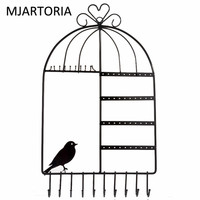 MJARTORIA Wall Hanging Pink Promotional Bird Cage Frame Earring Jewelry Display Rack Stand Holder Jewelry Metal