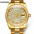Роскошные мужские часы SANGDO  золотые  нержавеющая сталь  автоматические механические  сапфировое стекло  водонепроницаемые часы с календаре...