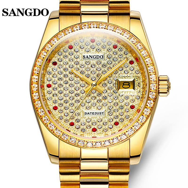 Luxury SANGDO watch men gold Stainless steel Automatic mechanical Sapphire glass waterproof calendar watch relogio masculine 2018 ailang sapphire automatic mechanical watch mens top brand luxury waterproof brown genuine leather watch relogio masculine